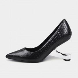 Pointed-Toe Faux Leather Black Pumps (19DR10600)