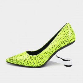 Pointed-Toe Faux Leather Green Pumps (19DR10600)