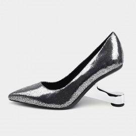 Pointed-Toe Faux Leather Silver Pumps (19DR10600)