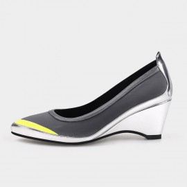 Pointed-Toe Faux Patent Leather Silver Wedges (19DR10601)