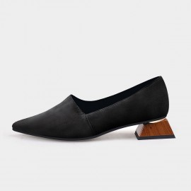 Pointed-Toe Faux Leather Loafer Black Squared Heel Pumps (19DR10602)