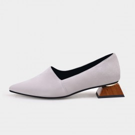 Pointed-Toe Faux Leather Loafer Grey Squared Heel Pumps (19DR10602)