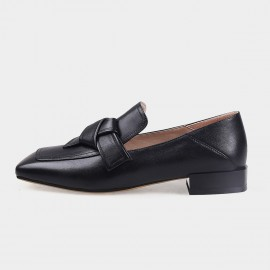 Squared-Toe Faux Leather Black Loafers (19DR10603)