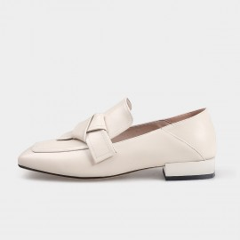 Squared-Toe Faux Leather White Loafers (19DR10603)
