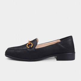 Almond-Toe Metal Link Accent Faux Leather Black Loafers (19DR10604)