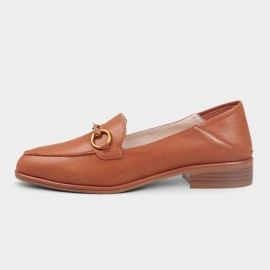 Almond-Toe Metal Link Accent Faux Leather Brown Loafers (19DR10604)