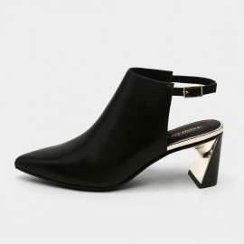 Pointed-Toe Faux Suede Black Mules (19DR10608)
