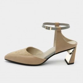 Pointed-Toe Faux Suede Apricot Sandals (19DR10609)
