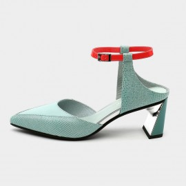 Pointed-Toe Faux Suede Blue Sandals (19DR10609)