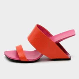 Open Toe Faux Leather Red Sandals (19DR10612)