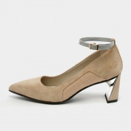 Pointed-Toe Faux Suede Ankle-Strap Apricot Pumps (19DR10615)