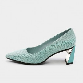 Pointed-Toe Faux Leather High-Polished Blue Pumps (19DR10616)