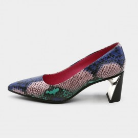 Pointed-Toe Faux Snake Leather High-Polished Pumps (19DR10616)