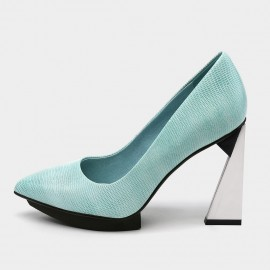 Pointed-Toe Faux Leather High-Polished High Heel Blue Pumps (19DR10617)