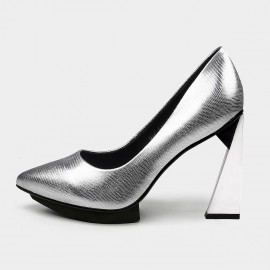 Pointed-Toe Faux Leather High-Polished High Heel Silver Pumps (19DR10617)