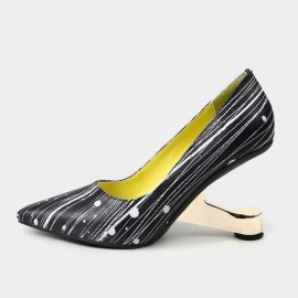Pointed-Toe Faux Leather High-Polished Heels Strip Pattern Pumps (19DR10618)