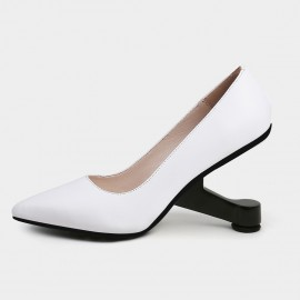 Pointed-Toe Faux Leather High-Polished Heels White Pumps (19DR10618)