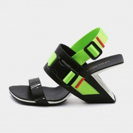 Open Toe Strip Accent Green Sandals (19DR10619)