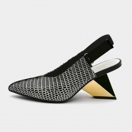 Pointed-Toe Faux Leather Back Nylon Strap Gold Sandals (19DR10625)