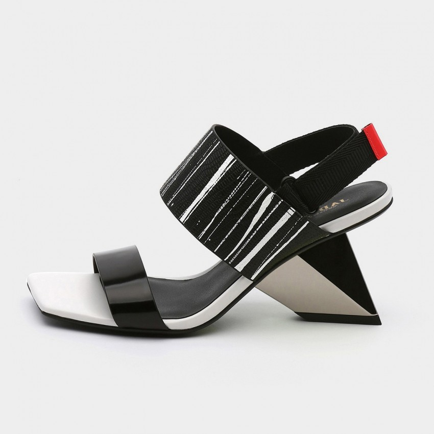 Squared-Toe Faux Leather Strap Stripe Pattern Sandals (19DR10626)