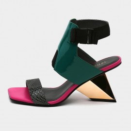 Squared-Toe Faux Leather Nylon Back Green Sandals (19DR10627)