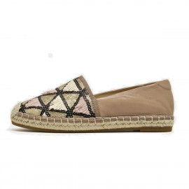 Beau Espadrille Tassel And Sequin Apricot Flats (24035)