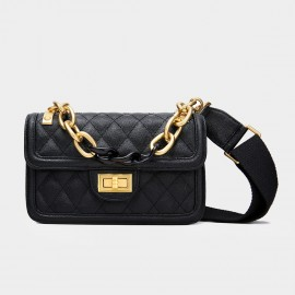 Cilela Large Chain Quilted Black Satchel (CK-001228L)