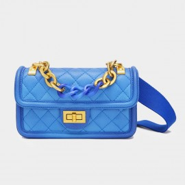 Cilela Large Chain Quilted Blue Satchel (CK-001228L)
