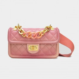 Cilela Large Chain Quilted Pink Satchel (CK-001228L)