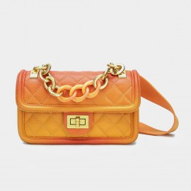 Cilela Small Chain Quilted Orange Satchel (CK-001228S)
