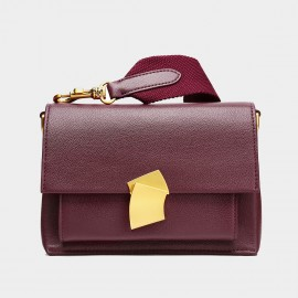 Cilela Wide Strap Wine Shoulder Bag (CK-001236)
