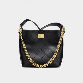 Cilela Simple Quilted Black Tote (CK-002016)