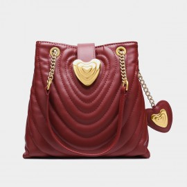 Cilela Heart Snap Quilted Red Tote (EY31434)