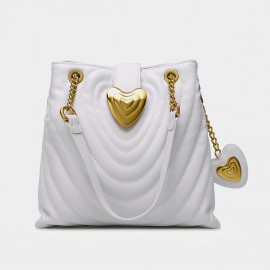 Cilela Heart Snap Quilted White Tote (EY31434)