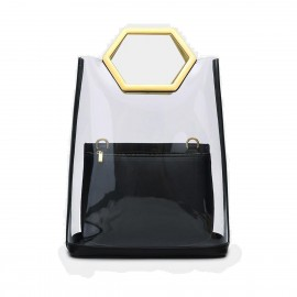 Cilela Futuristic Transparent Tote Black Top Handle (EY31884)