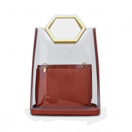 Cilela Futuristic Transparent Tote Red Top Handle (EY31884)