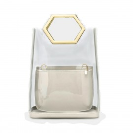 Cilela Futuristic Transparent Tote Ivory Top Handle (EY31884)