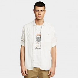 KUEGOU Checker White Shirt (BC-8815)