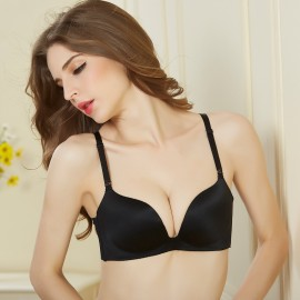 Olanfen Elegant Silky Moisture-Wicking Detachable Black Bra (OLF096108)