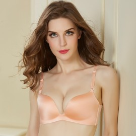 Olanfen Elegant Silky Moisture-Wicking Detachable Orange Bra (OLF096108)