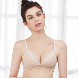 Olanfen Floral Scalloped Trim Lace Nude Bra (OLF895)