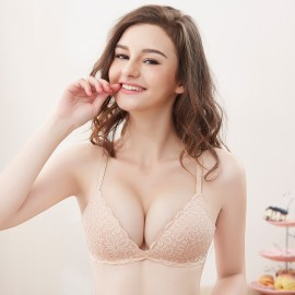 Olanfen Sweet Knitted Floral Tulle Trim Nude Bra (OLF898)