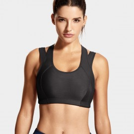 Syrokan double strap black sports bra (A280)