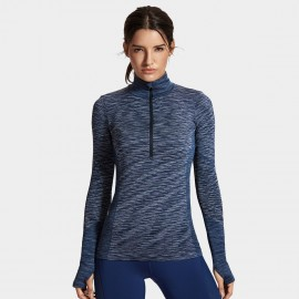 Syrokan High Neck Long Sleeve Navy Top (R503)