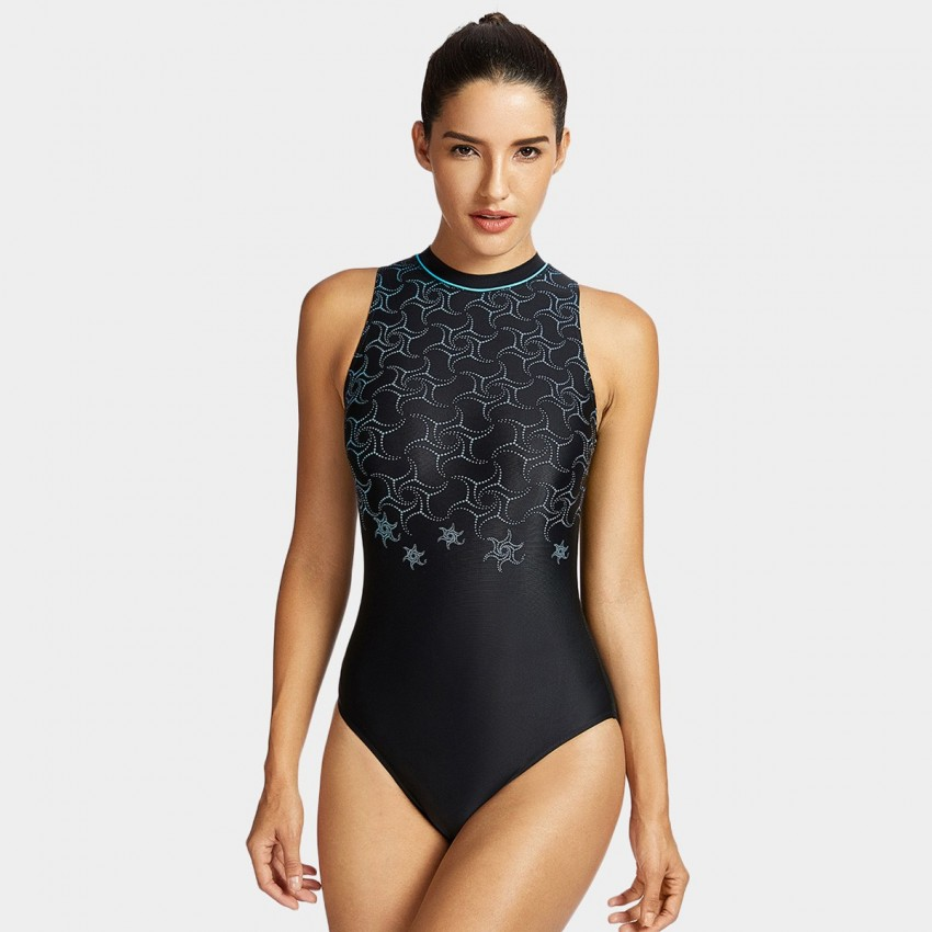 Syrokan One-Piece Black High Neck Swim Suit (SP022)