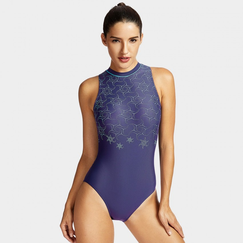 Syrokan One-Piece Navy High Neck Swim Suit (SP022)