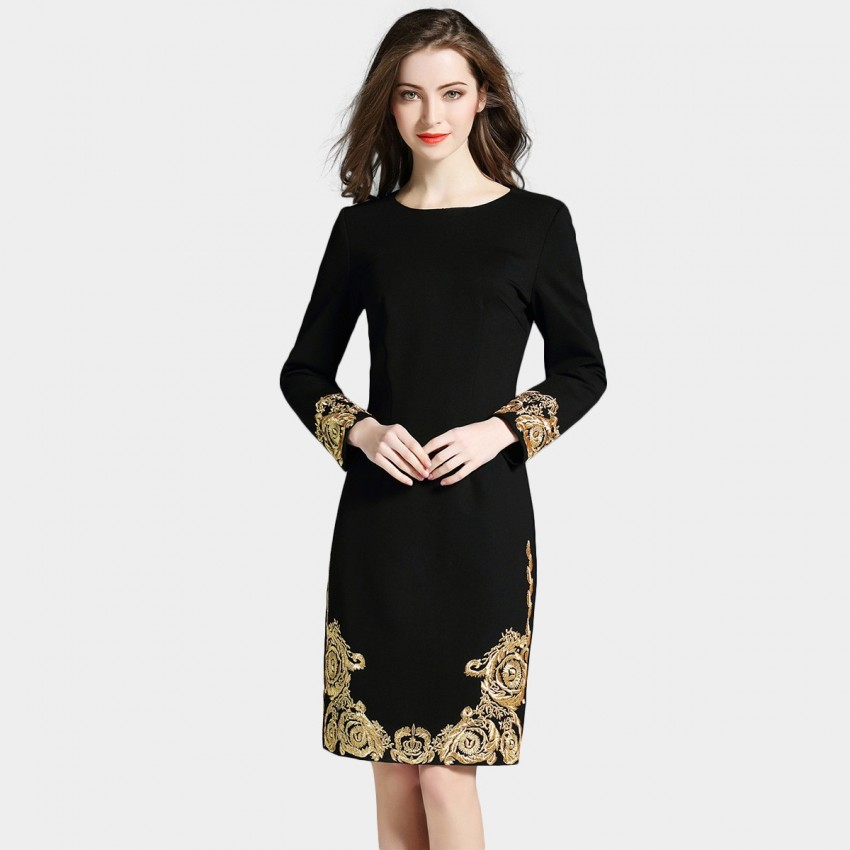 Buy D & R Long Sleeve Black & Gold Dress online, shop D & R with free shipping