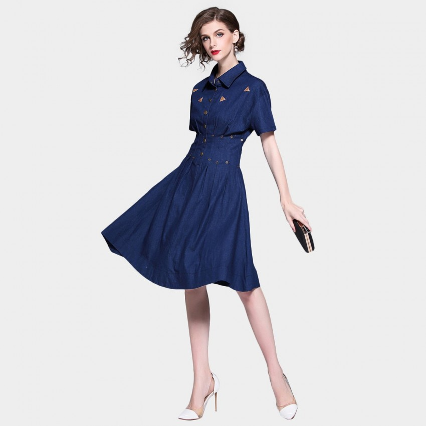 Buy D & R Navy Shirt Dress online, shop D & R with free shipping