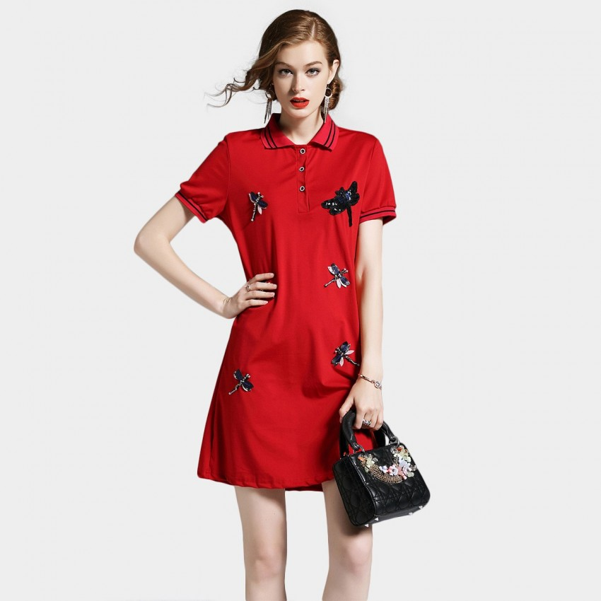 Buy D & R Red Polo Neck Dress online, shop D & R with free shipping