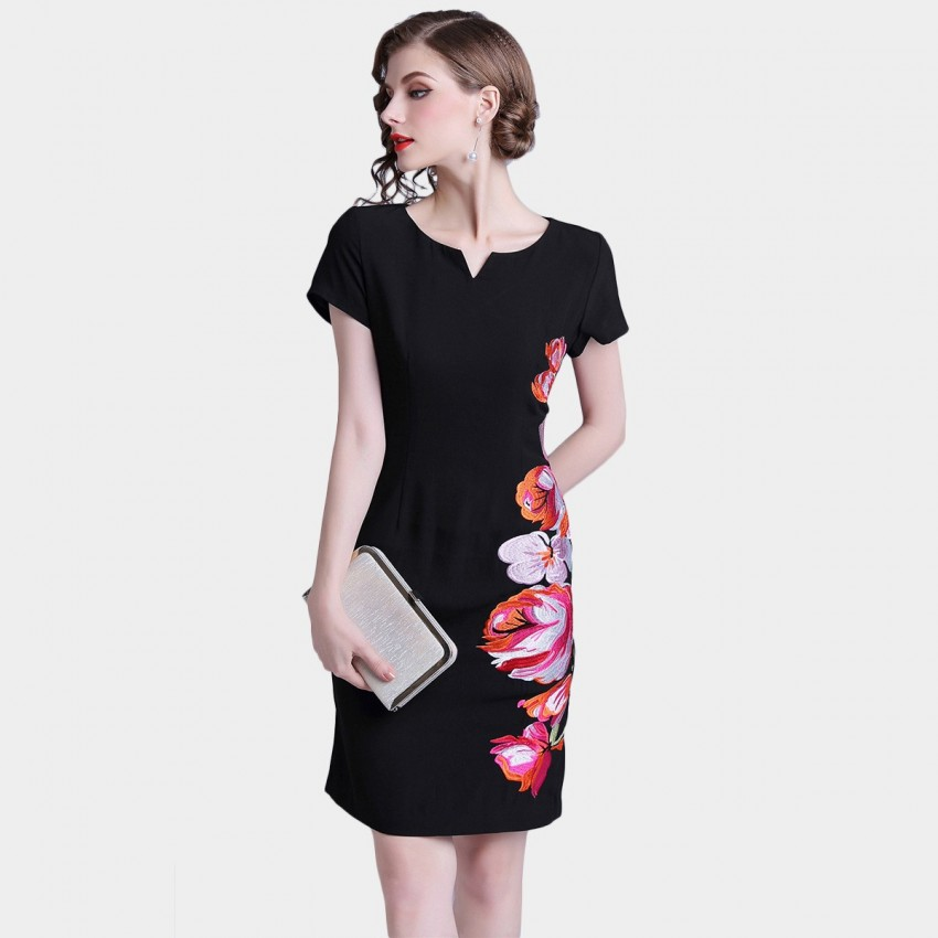 Buy D & R Floral Embroidery Black Dress online, shop D & R with free shipping